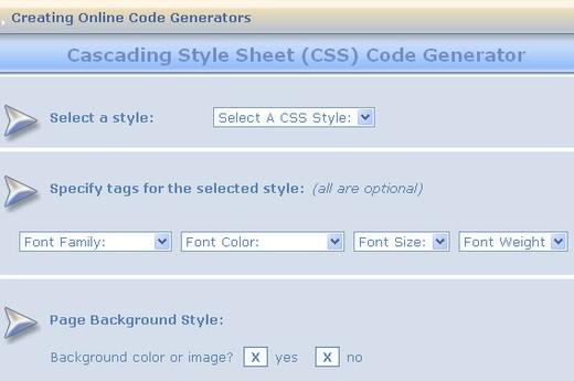 Cascading Style Sheet CSS Generator