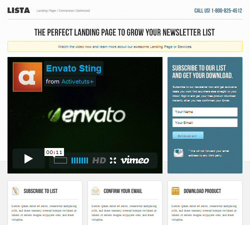 lista landing page