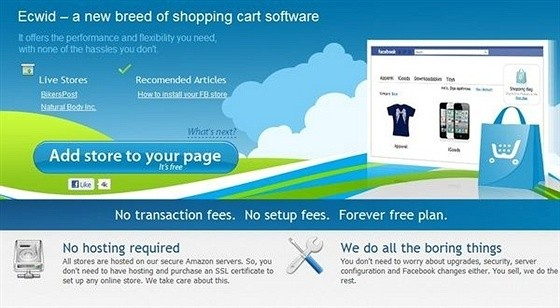 Ecwid eCommerce Shopping Cart Apps for Facebook