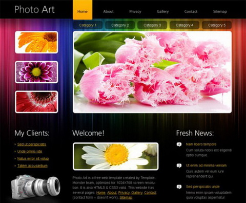 Free HTML5 Template for Photography and Portfolio Websites