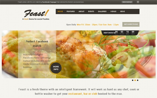 Feast Facebook Fanpage & WordPress theme