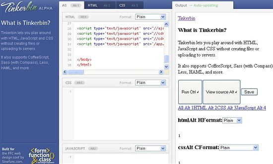 tinkerbin - website to check code snippets