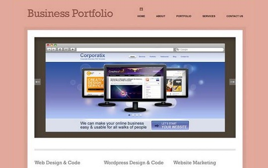 minimal business portfolio website psd template