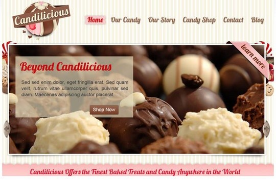 candilicious - free psd website template
