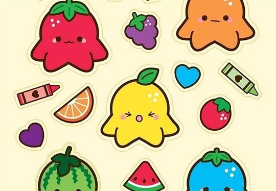 octofruits sticker sheet
