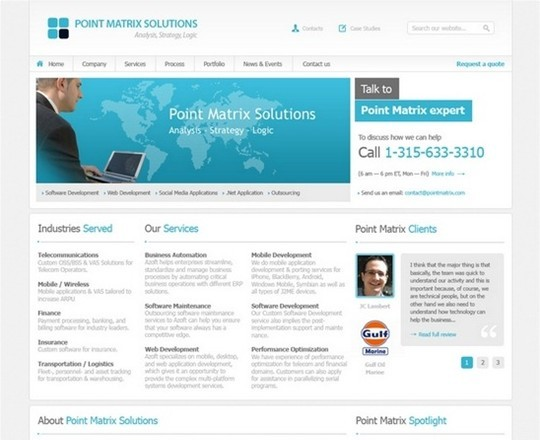 pointmatrix business website free psd
