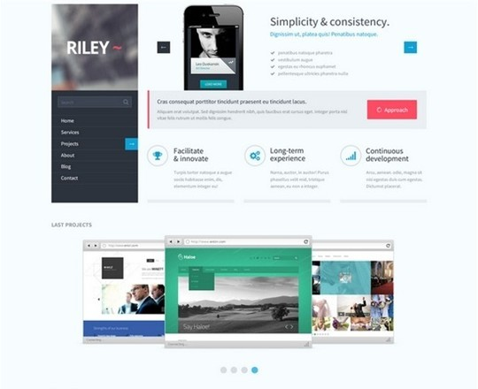 riley unique psd template