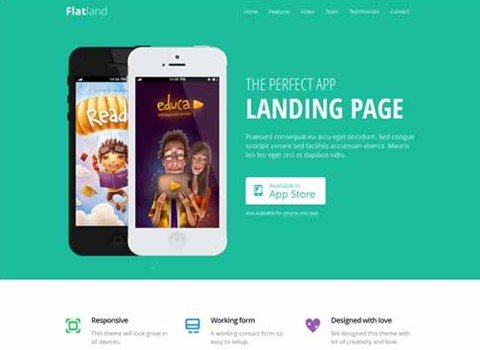 flatland – responsive html5 app landing page