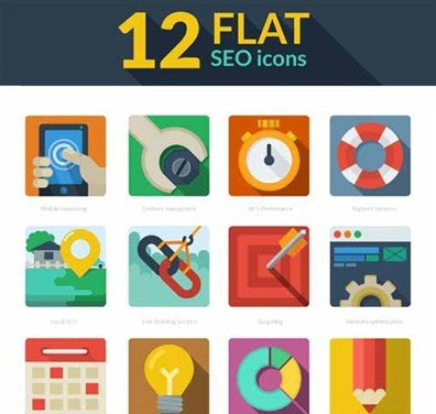 free download: 12 flat seo icons