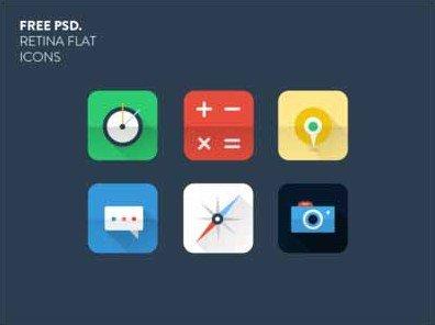 free retina flat icons