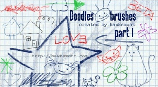 free photoshop brushes: doodles part 1