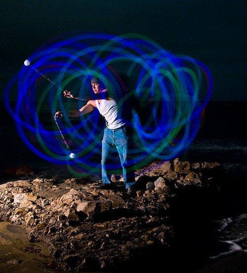 Glow Poi, the Big Rock At Hendry's - long exposure photos