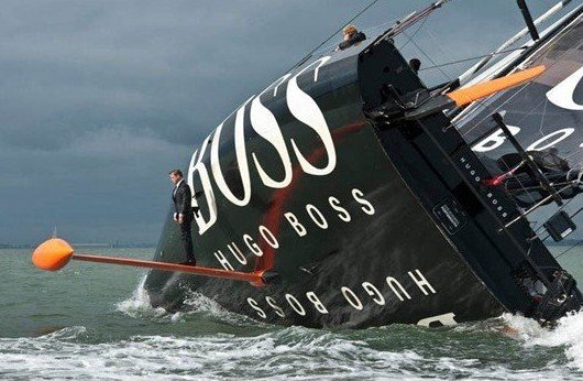 keel walk hugo boss suit boat sailing standing on rutter