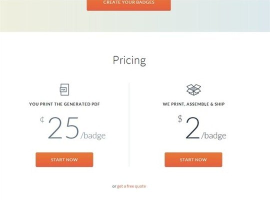 conference badge - pricing page design