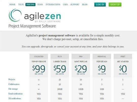 agilezen - pricing page design