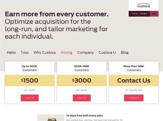 custora - pricing page design