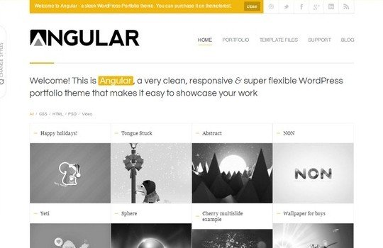 Angular – Responsive WordPress Portfolio Template