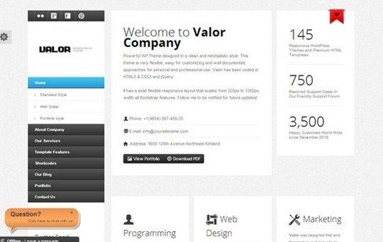 Valor Responsive WordPress Theme