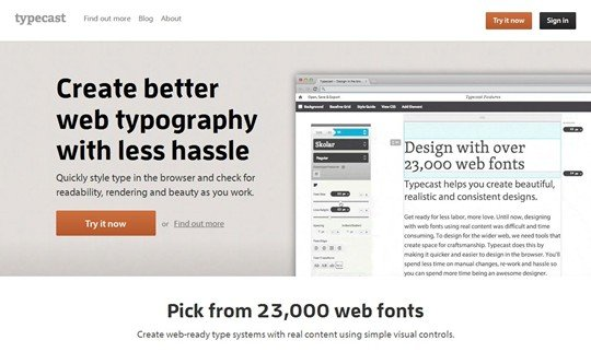 home | design in the browser with web fonts and real content — typecast