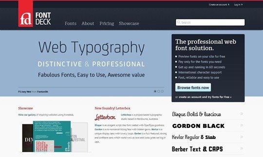 fontdeck web fonts: real fonts for your website