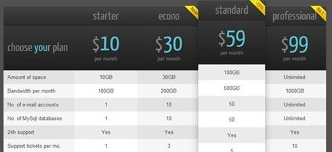 CSS3 responsive web pricing tables