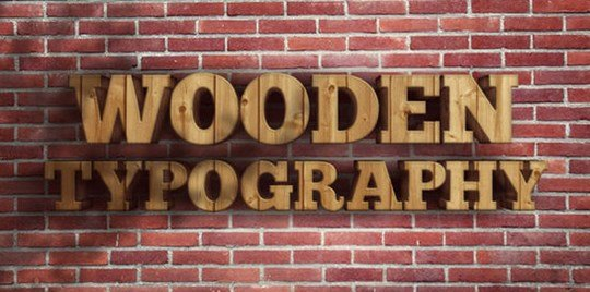 create a realistic wooden 3d text image.