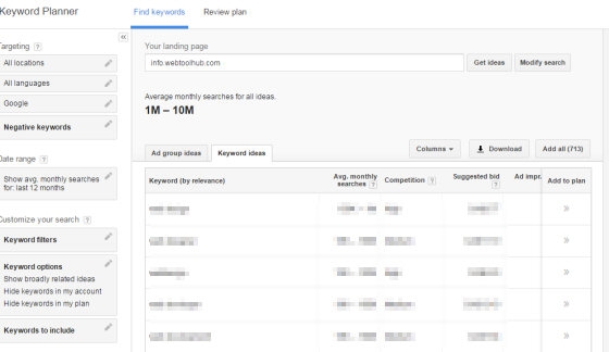 Google Adwords - Keyword Research Tools