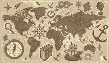Old world vector map with sea faring elements download free vector creativedesigndownloadelementsepsglobegraphicillustrator gumiabroncs Images