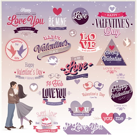elements,heart,love,vector,flat,valentines,labels,vectors,romantic,stickers,valentine's day vector
