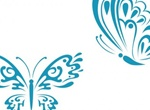 2 Pretty Blue Tattoo Style Butterfly Vectors