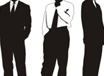 3 Standing Businessmen Vector Silhouettes