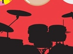 Retro Rock Silhouette Drums Vector