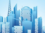 Blue Reflective City Skyline Vector Graphic