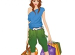 Trendy Shopping Girl With Bags Vector Graphic