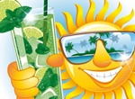 Smiling Sun Tropical Island Vector Illustration