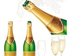 Champagne Bottle & Glass Vector Graphics