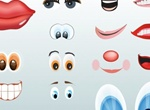 Vector Cartoon Lips Eyes & Mouths Set