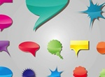 14 Fun Colorful Speech Balloons Vector Set