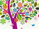 Springtime Abstract Tree With Decorated Leaves Vector