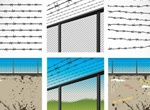 Security Barbed Wire Fence Vector Graphics