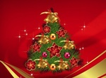 Decorated Pine Christmas Tree Vector