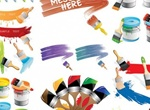 Colorful Paint Cans & Brushes Vector Graphics