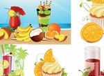 Juicy Tropical Fruit & Drinks Vector Graphics