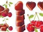 Cherries & Chocolate Hearts Vector Graphics