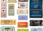 Vintage Movie Tickets Labels Vector Set