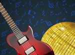 Electric Guitar & Disco Ball Vector Music Graphic