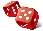 Red Set Of Rolling Dice Vector Graphic