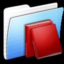 Aqua, Folder, Library, Stripped Icon