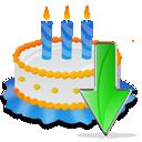 Birthday, Cake, Down Icon