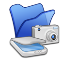 &Amp, Blue, Cameras, Folder, Scanners Icon